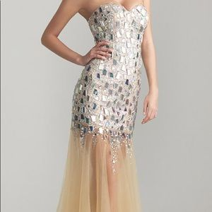 Night Moves Nude Bedazzled Broken Glass Dress